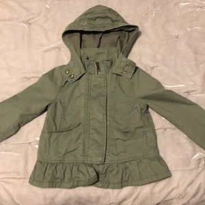 Army green military style jacket for little girl
